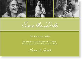 Save the Date Karten, Dezente Eleganz in Grün