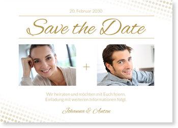 Save the Date Karten, Elegante Pailletten