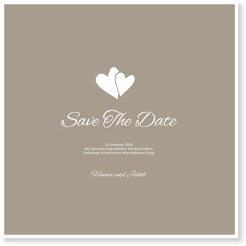 Save the Date Karten, Herzpärchen