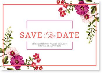 Save the Date Karten, Hochzeitsblumen
