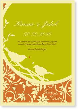 Save the Date Karten, Hochzeitsgezwitscher