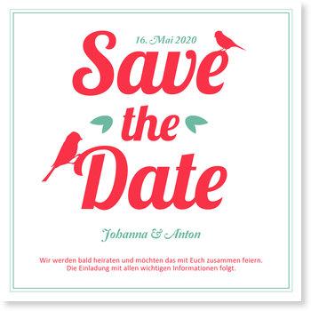 Save the Date Karten, Hochzeitsvögelchen