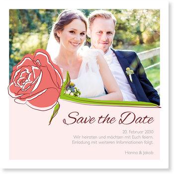 Save the Date Karten, Stilvolle Rosen in Rosa