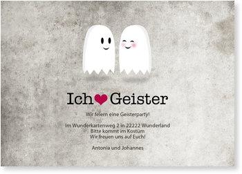 Einladungskarten Halloween , Ich liebe Geister