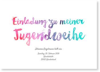 Einladungskarten Jugendweihe, Aquarellschrift in Lila