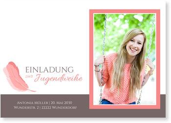 Einladungskarten Jugendweihe, Federleicht