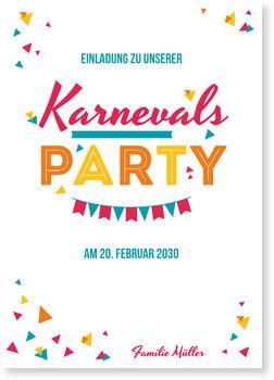 Einladungskarten Karneval und Fasching, Karneval - Bunte Schnipsel