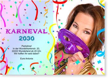 Einladungskarten Karneval und Fasching, Luftschlangenparty