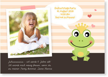 Einladungskarten Kindergeburtstag, Frosch