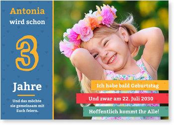 Einladungskarten Kindergeburtstag, Große Zahl in Blau