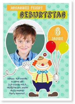 Einladungskarten Kindergeburtstag, Lustiger Clown