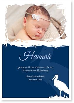 Geburtskarten, Klapperstorch - Blau