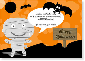Einladungskarten Halloween , Kleine Mumie mit Fledermaus