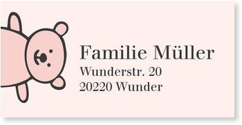 Adressaufkleber Baby, Kleiner Teddy in Rosa