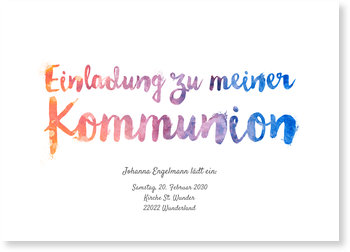 Einladungskarten Kommunion, Aquarellschrift