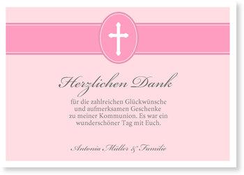 Danksagungskarten Kommunion, Banderole mit Kreuz in Rosa