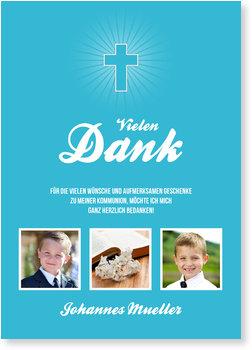 Danksagungskarten Kommunion, Einfaches Kreuz in Türkis
