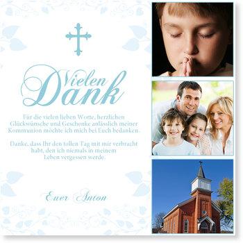 Danksagungskarten Kommunion, Geschwungenes Kreuz in Blau