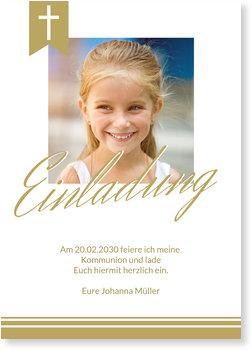 Einladungskarten Kommunion, Eleganter Schriftzug