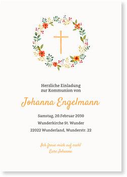 Einladungskarten Kommunion, Floraler Kreis