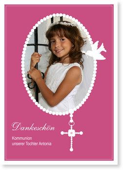 Danksagungskarten Kommunion, Perlenkette mit Kreuz