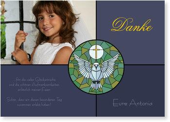Danksagungskarten Kommunion, Kirchenfenster mit Täubchen in Nachtblau