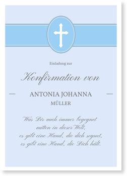 Einladungskarten Konfirmation, Banderole mit Kreuz in Blau