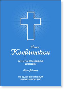 Einladungskarten Konfirmation, Einfaches Kreuz