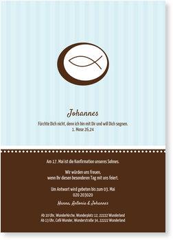 Einladungskarten Konfirmation, Ichthys in Hellblau