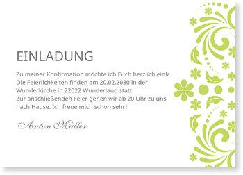 Einladungskarten Konfirmation, Elegante Einladung in Grün