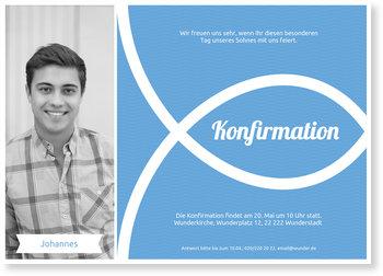Einladungskarten Konfirmation, Ichthys in Blau