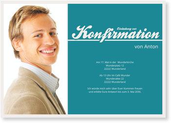 Einladungskarten Konfirmation, Meine Konfirmationsfeier in Blau