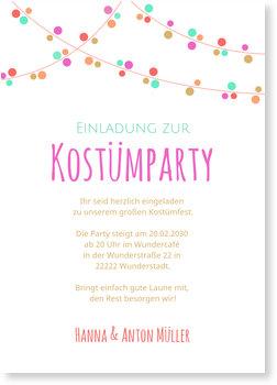 Einladungskarten Karneval und Fasching, Kostümparty Girlande - Stimmungsvoll