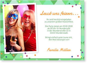 Einladungskarten Karneval und Fasching, Kostümparty - Konfettiparty in Grün