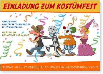 Einladungskarten Karneval und Fasching, Kostümparty
