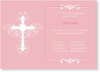 Einladungskarten Konfirmation, Ornamentkreuz in Rosé