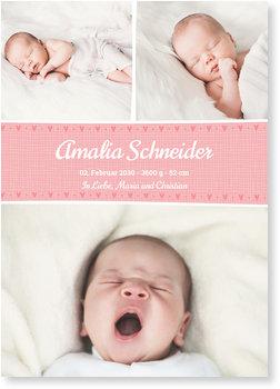 Geburtskarten, Linie mit Herzchen in Pink