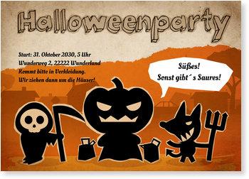 Einladungskarten Halloween , Lustige Monstertruppe