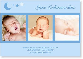 Geburtskarten, Mond und Sterne - Blau