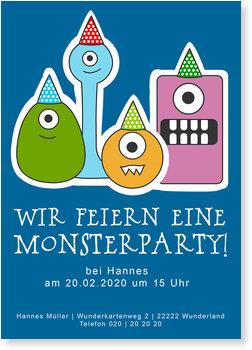 Einladungskarten Halloween , Monsterparty - Halloween