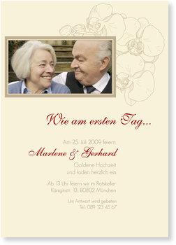 Einladungskarten Goldene Hochzeit, Orchidee in Beige