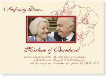 Einladungskarten Goldene Hochzeit, Orchidee in Rot
