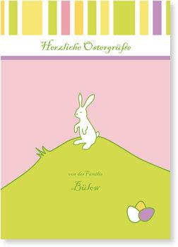 Osterkarten selbst gestalten, Osterhase auf dem Berg