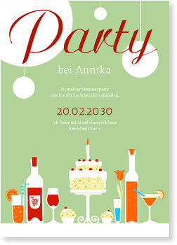 Einladungskarten Party, Buffet in Grün