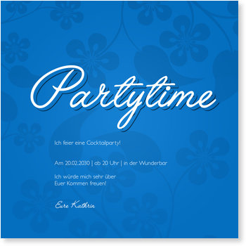 Einladungskarten Party, Partytime Floralmuster in Blau