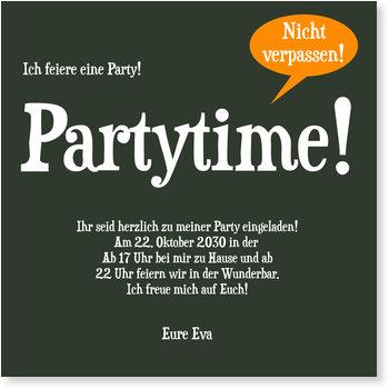 Einladungskarten Party, Partytime in Dunkelgrün