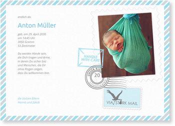 Geburtskarten, Post vom Storch