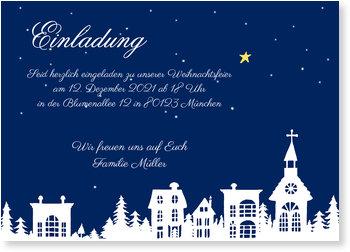 Einladung Weihnachtsfeier, Winterstadt - Blau
