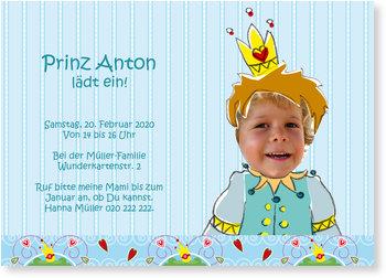 Einladungskarten Kindergeburtstag, Kleiner Prinz feiert!