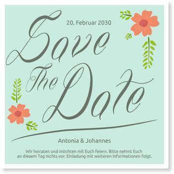 Save the Date Karten, Hochzeitsblüten in Mint